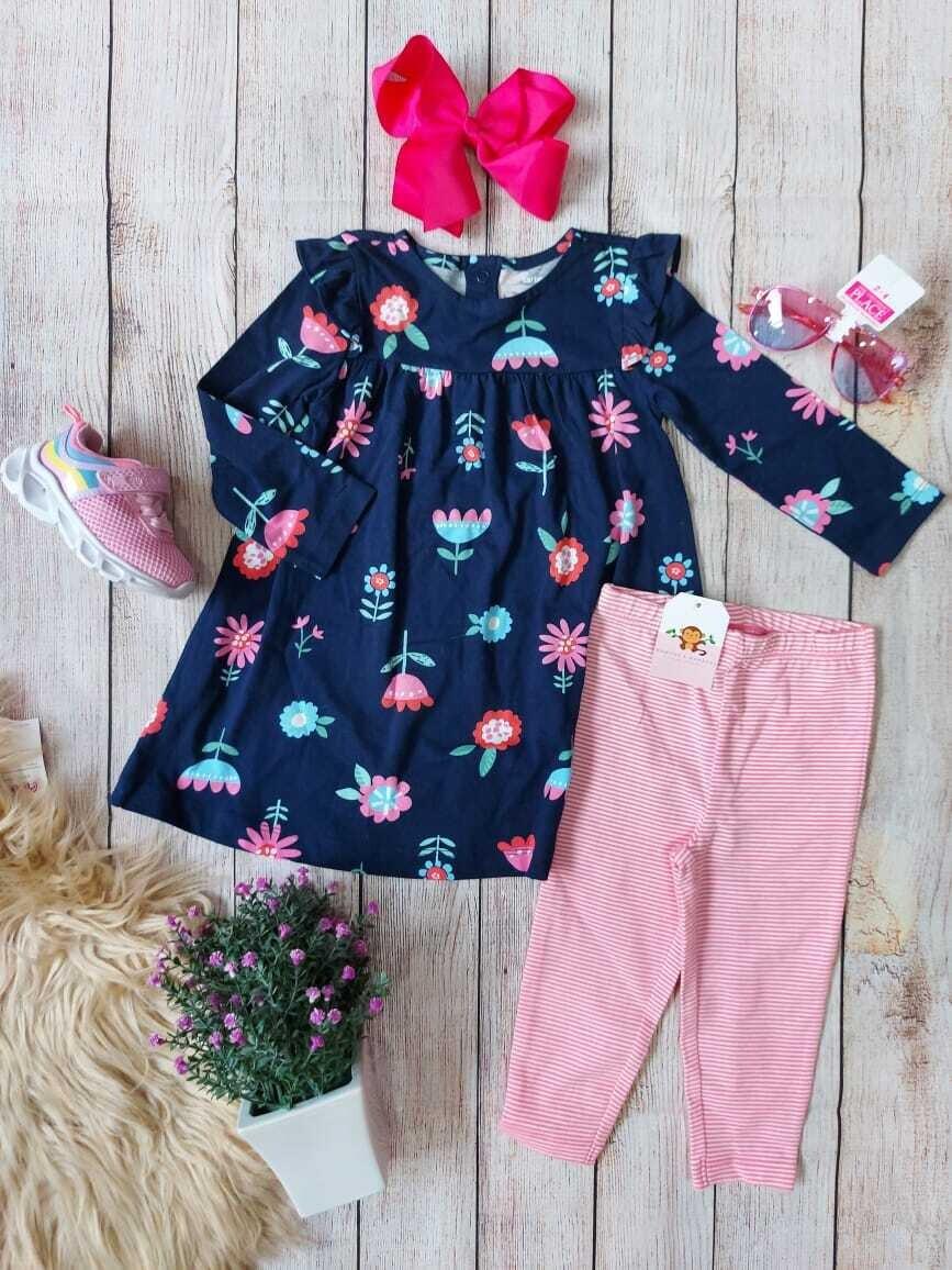 Set 2 piezas, blusa azul marino + pantalón rosado, 18 meses