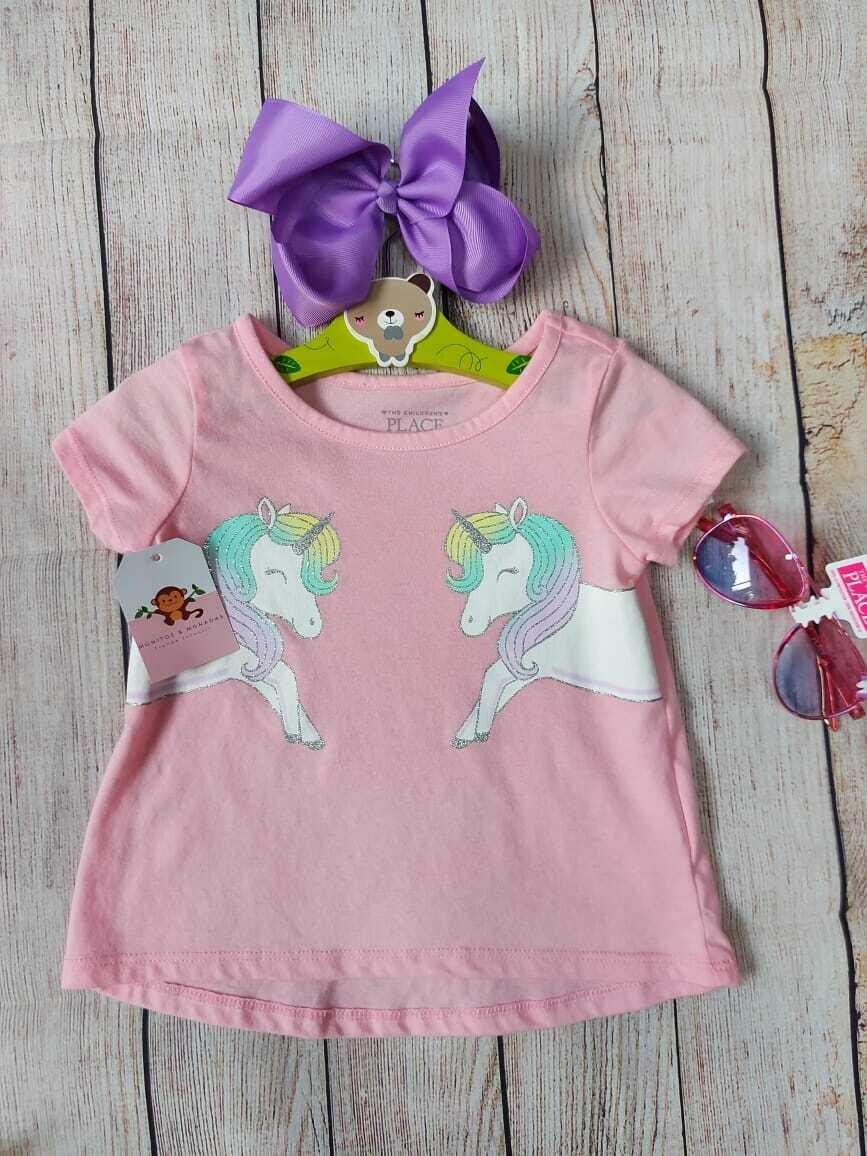 Blusa rosada de unicornio, 12-18 meses