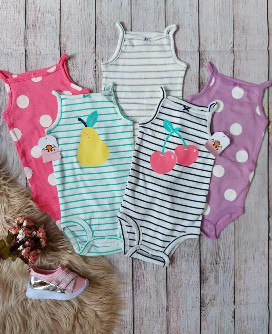 Pack 5 bodysuits de frutitas, 12 meses
