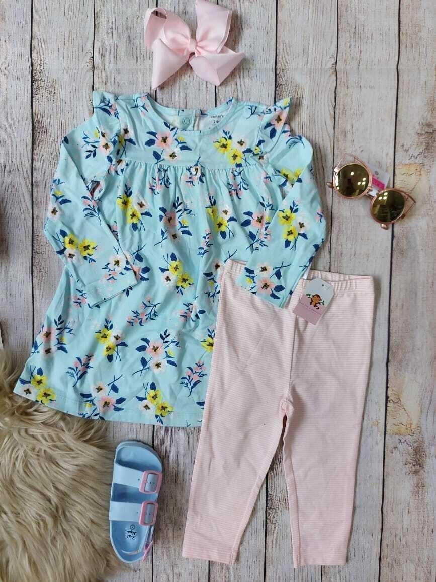 Set 2 piezas, blusa celeste + pantalón a rayas en rosado pastel y blanco, 24 meses