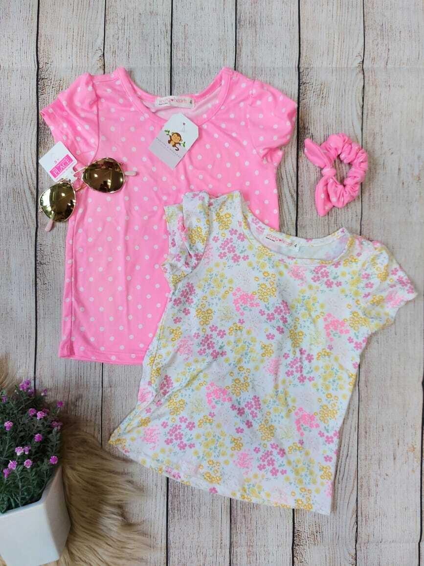 Pack 3 piezas, Camiseta rosada con puntos blancos + blusa blanca floreada + moño, 4 años