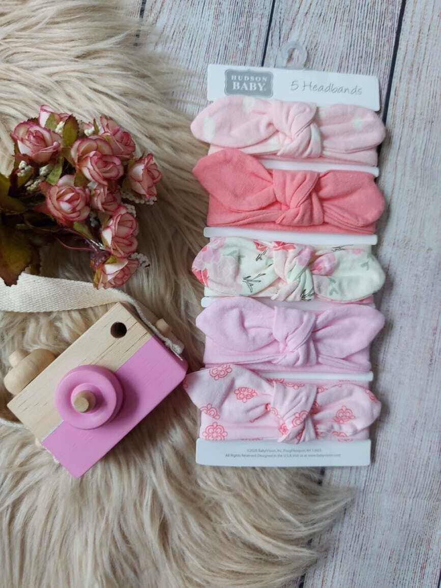 Set 5 cintillos en tonos rosados