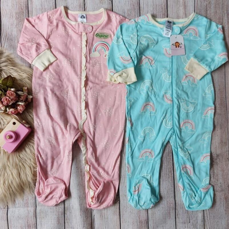 Pack 2 monitos de arcoíris, rosado y celeste, 6 a 9 meses