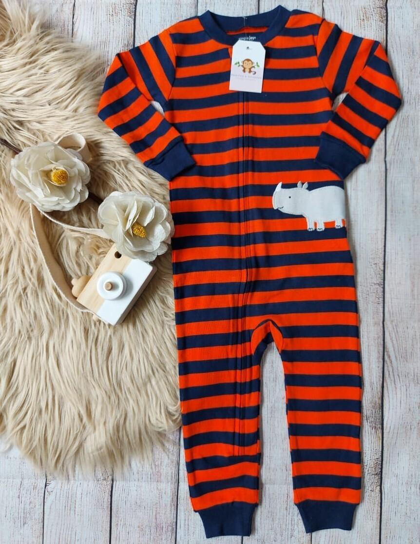 Monito a rayas anaranjado y azul, 18 meses