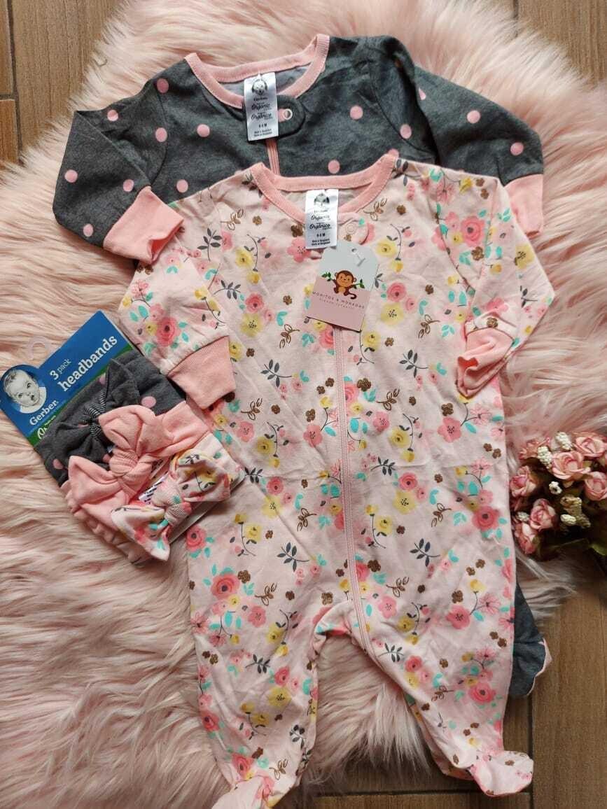 Pack 2 monitos + 3 cintillos, gris y rosado, 0 a 3m y 3 a 6m