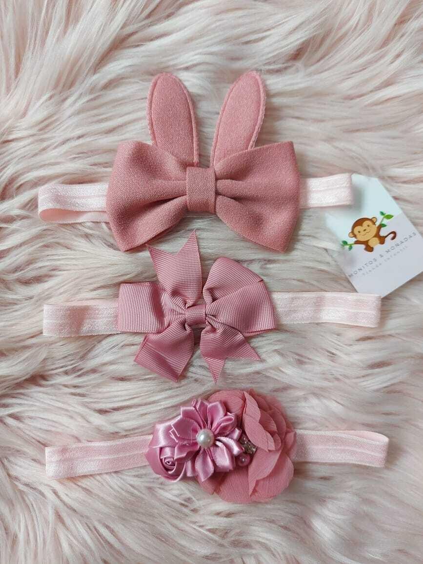 Pack 3 cintillos, rosa gold