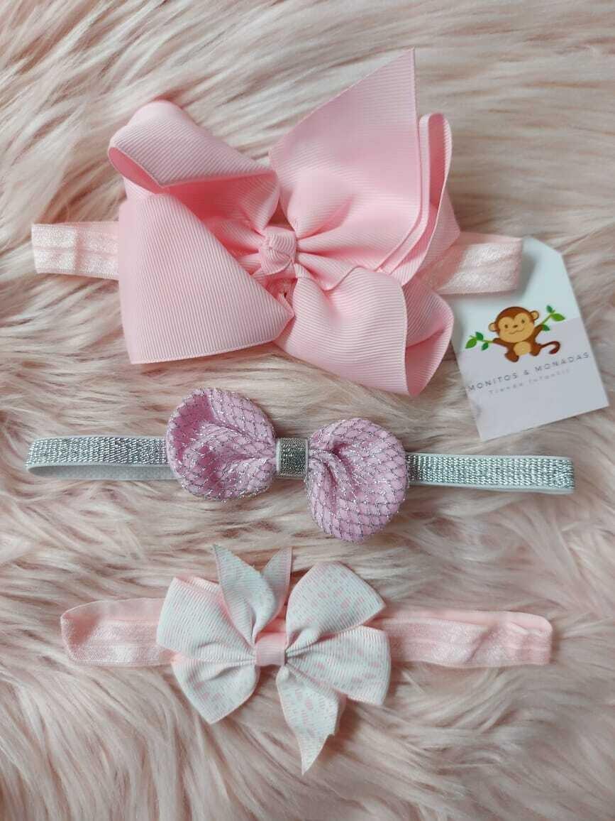 Set 3 cintillos, rosado + lila + blanco
