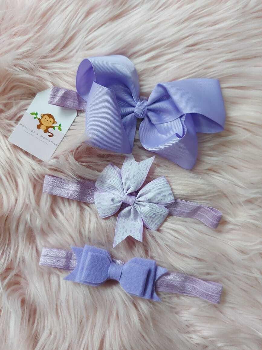 Set 3 cintillos color lila