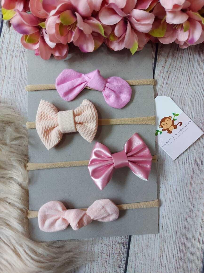 Set 4 cintillos, rosados pastel