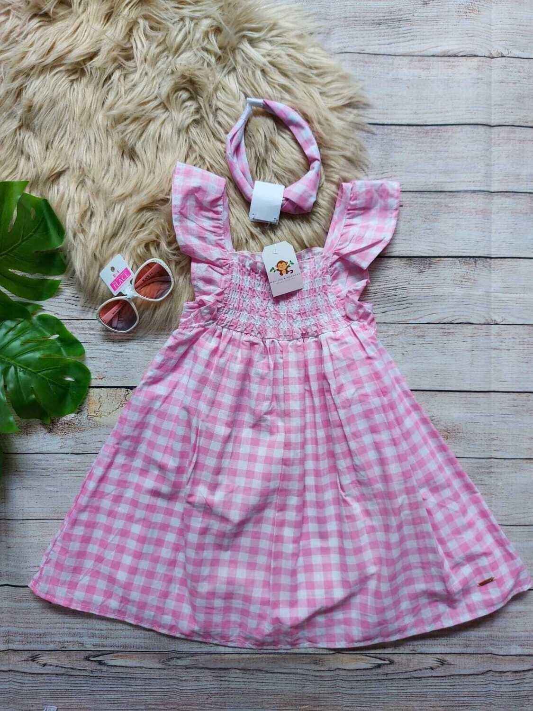 Vestido rosa a cuadros + diadema, Tahara, 5 años