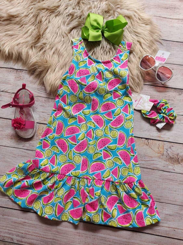 Vestido de sandía + moño, 4 años