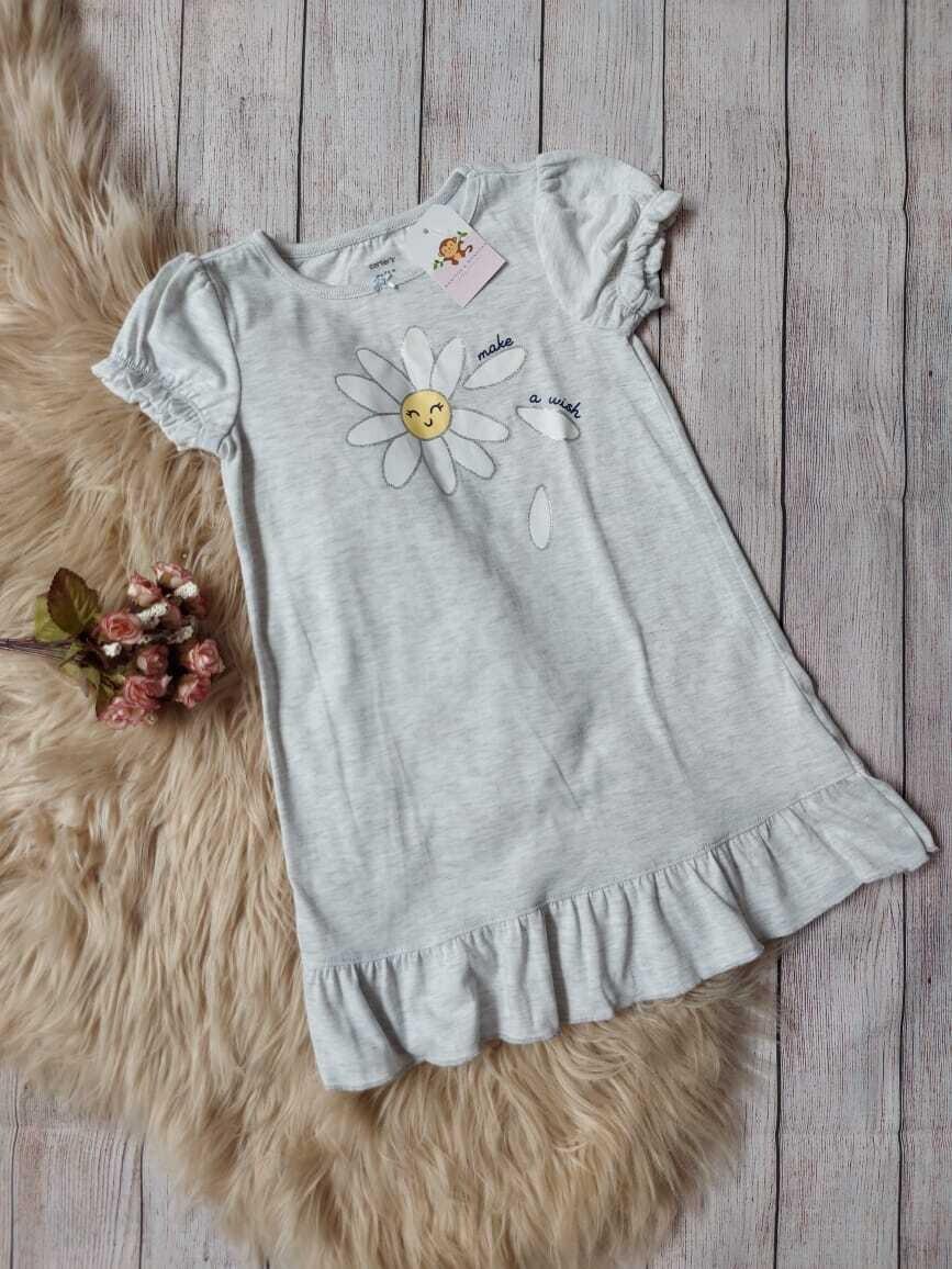 Vestido de pijama Carter's, color gris con estampado de flor, 4 años