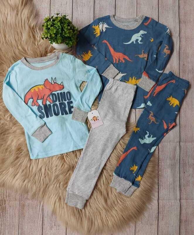 Set 4 piezas Carters de dinosaurios, 2 busitos + 2 pantalones de pijama, 2 años