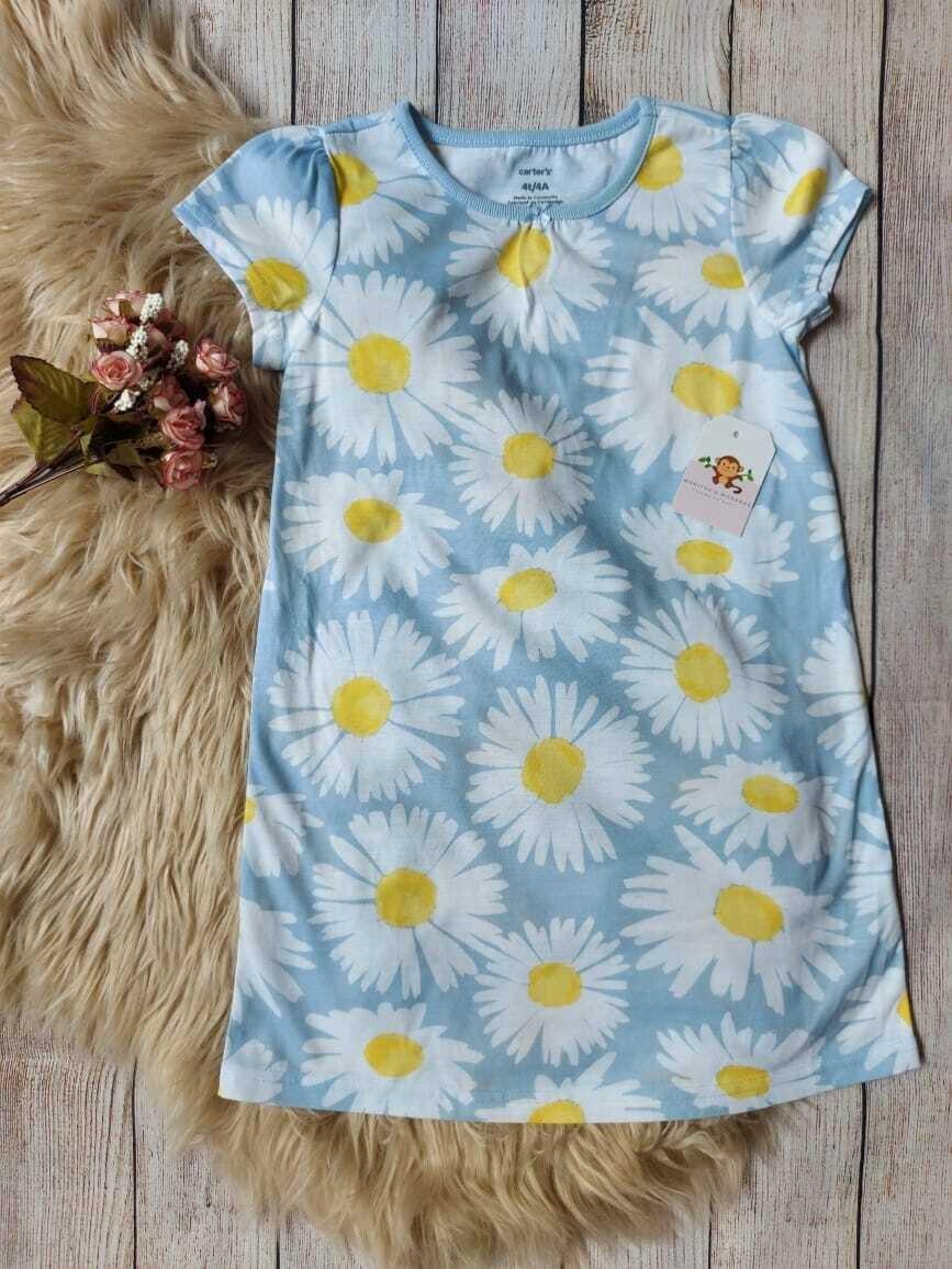 Vestido de Pijama Carter's, celeste de flores, 4 años