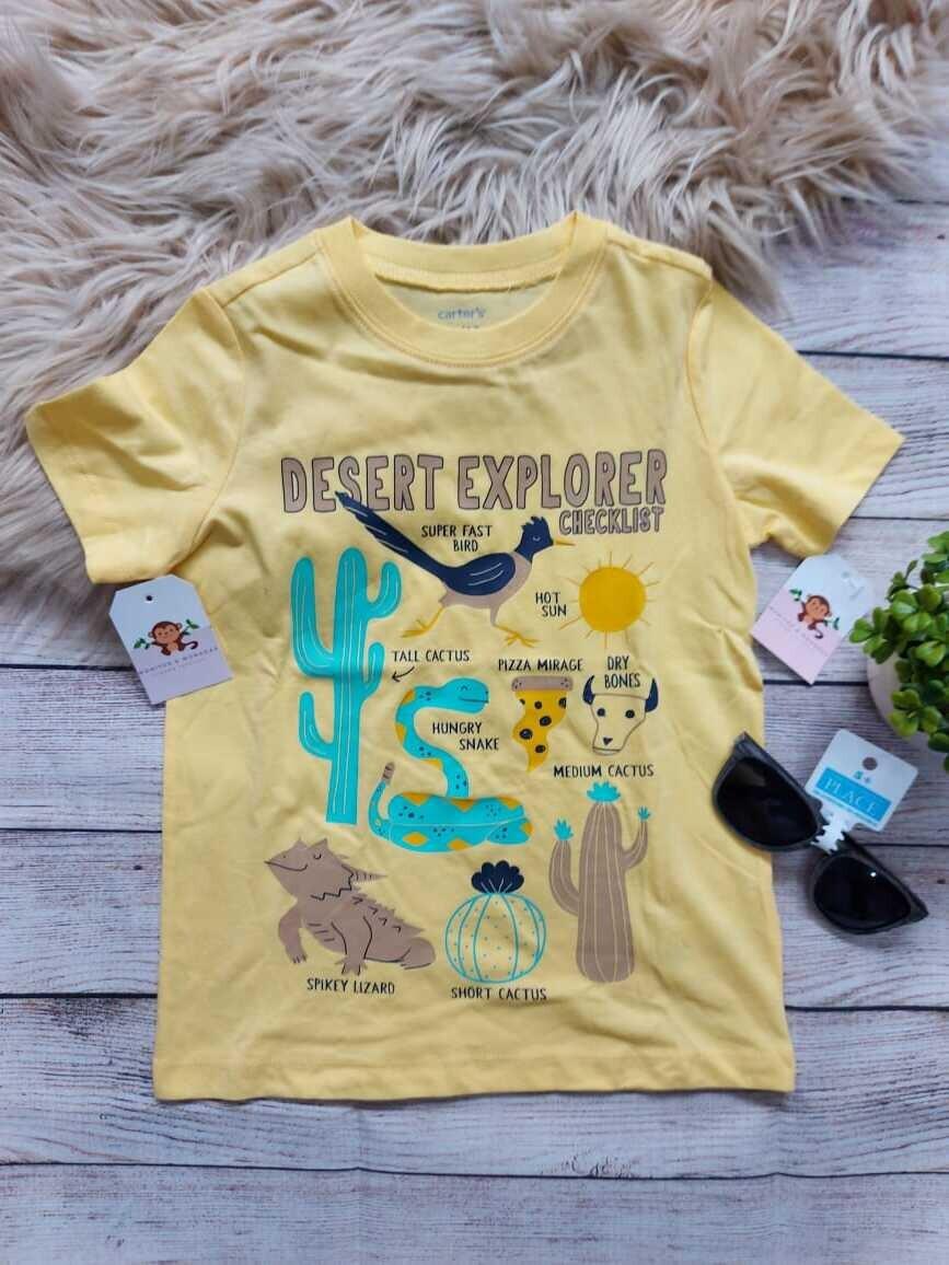Camiseta Carter's, amarilla de animalitos, 2 y 4 años