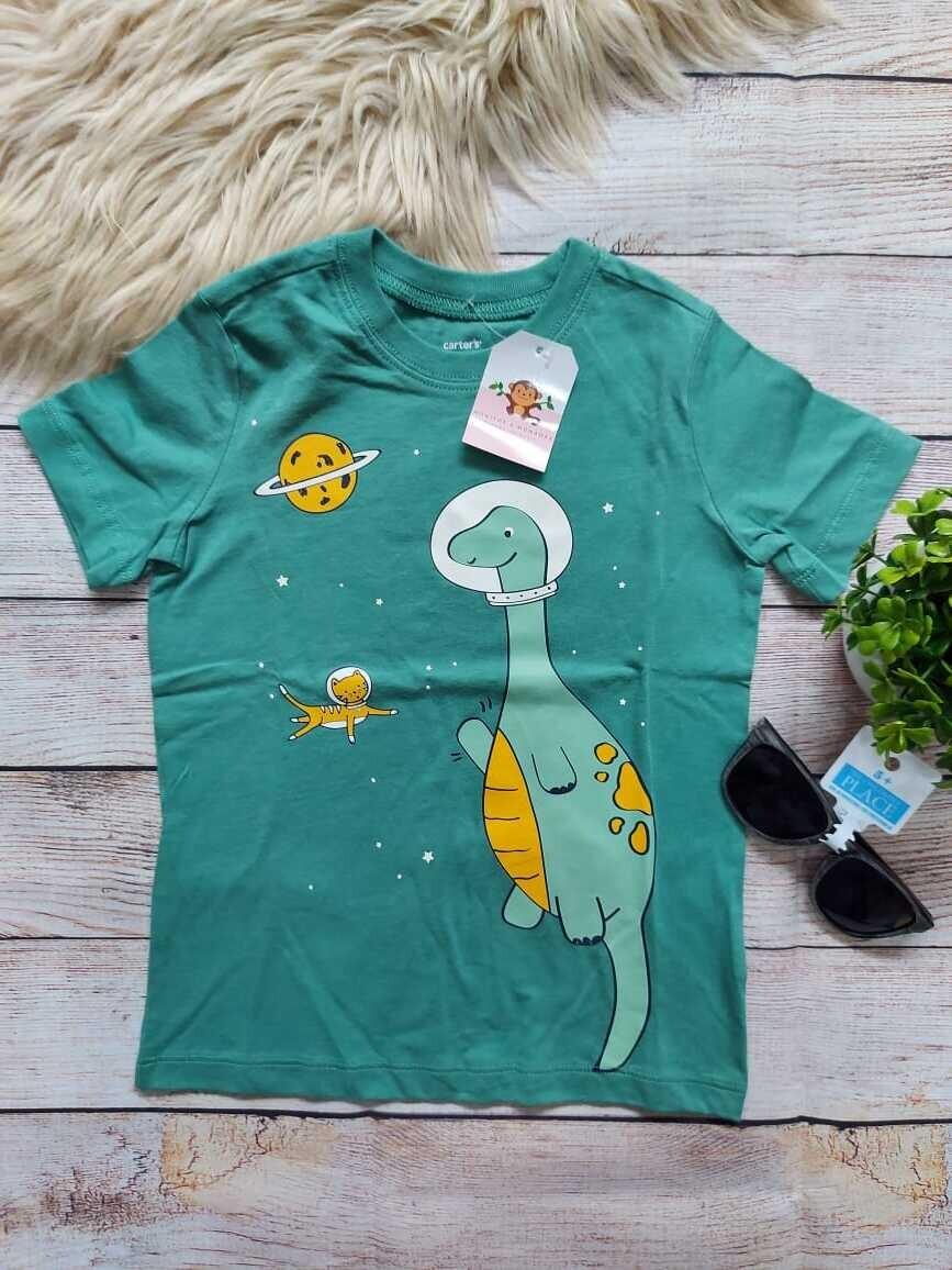 Camiseta Carter's, verde olivo de dinosaurio, 3 y 4 años