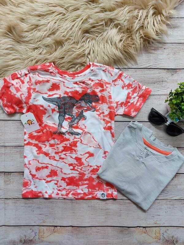 Set 2 camisetas, naranja de dinosaurio + gris, 4 años