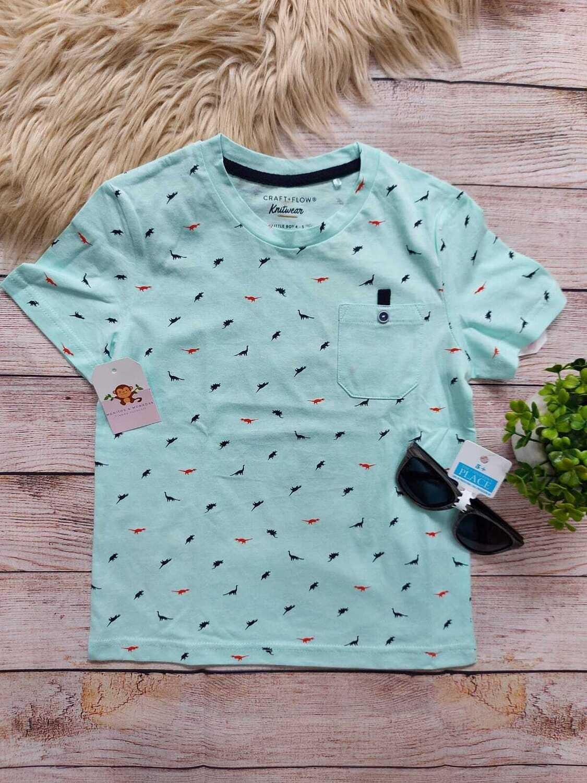 Camiseta celeste con detalles de dinosaurios, 4 a 5 años