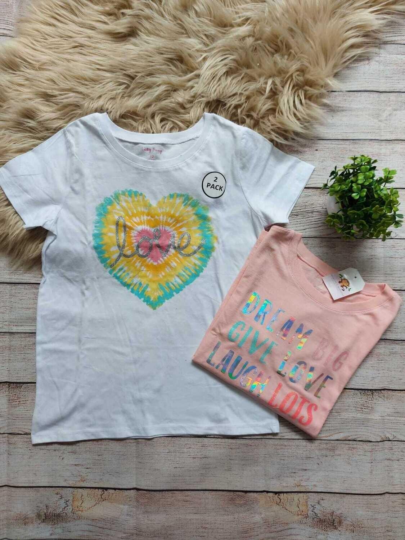 Set 2 camisetas, blanca y melón, 12 años