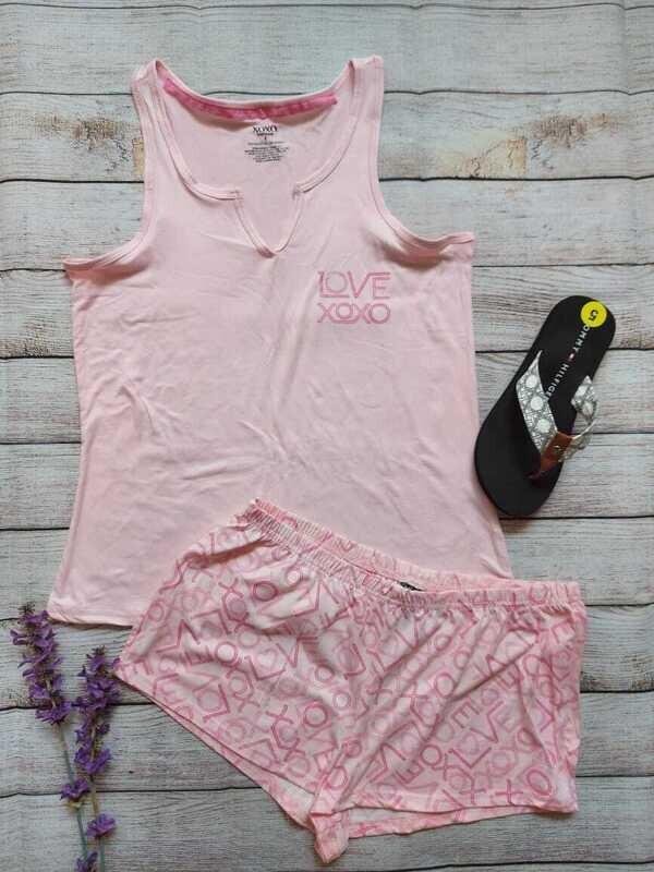Pijama 2 piezas rosada, Talla Small