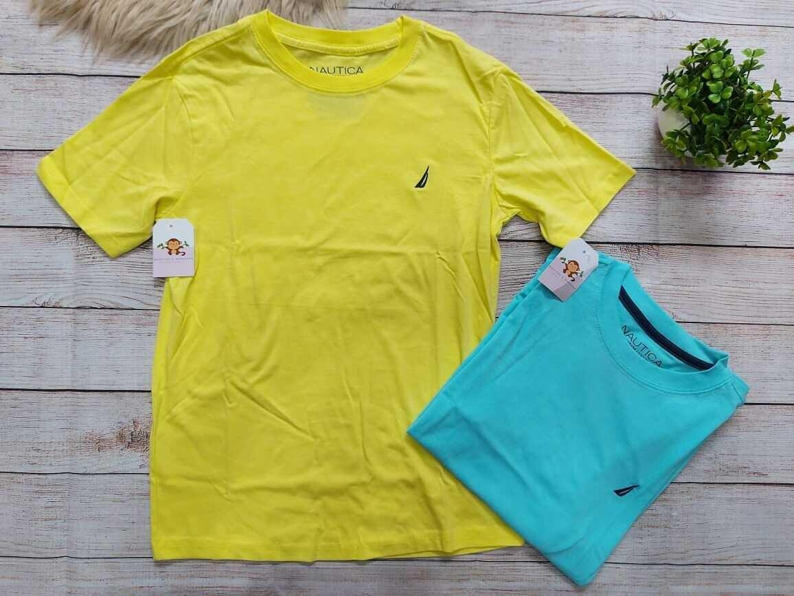 Camiseta Nautica, amarilla y celeste, 10 a 12 años
