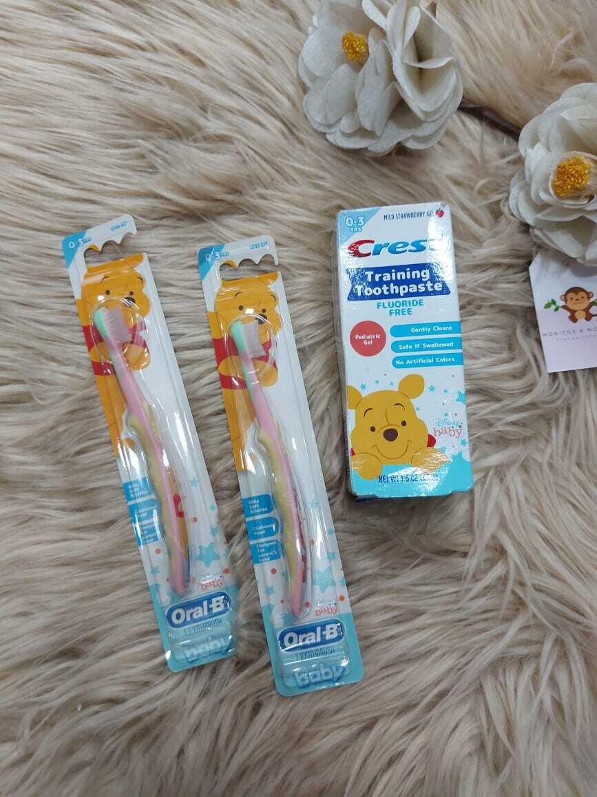Set 2 cepillos + pasta dental, 0 - 3 años