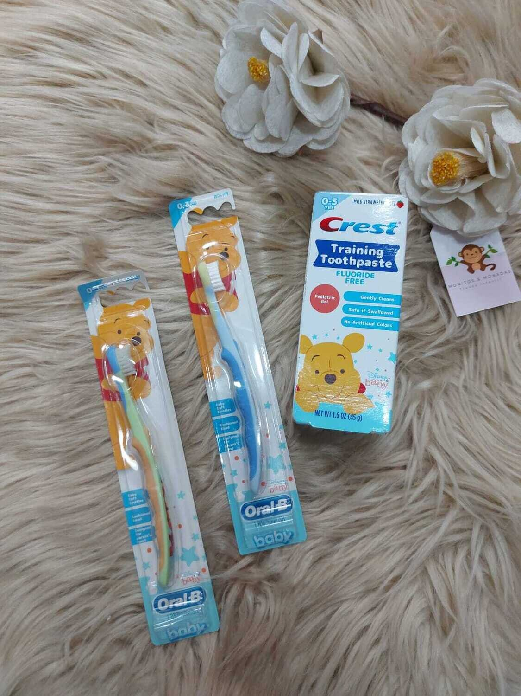 Set 2 cepillos dentales + pasta dental, 0 - 3 años