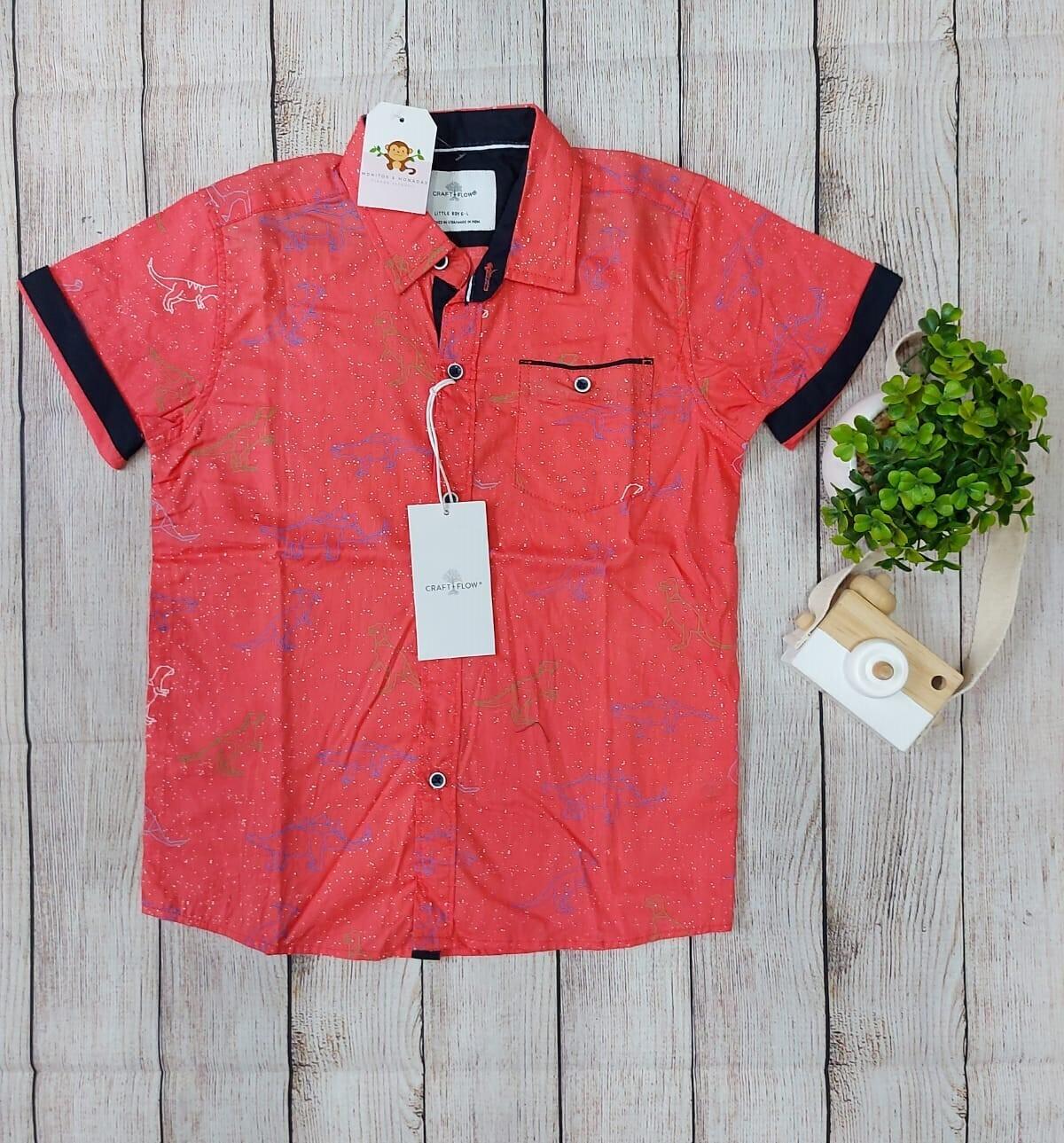 Camisa de dinosaurio, color Salmón, 6 años
