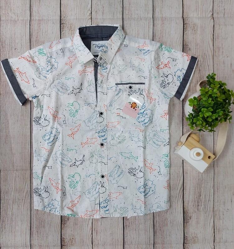 Camisa blanca con detalles de dinosaurios, 8 años
