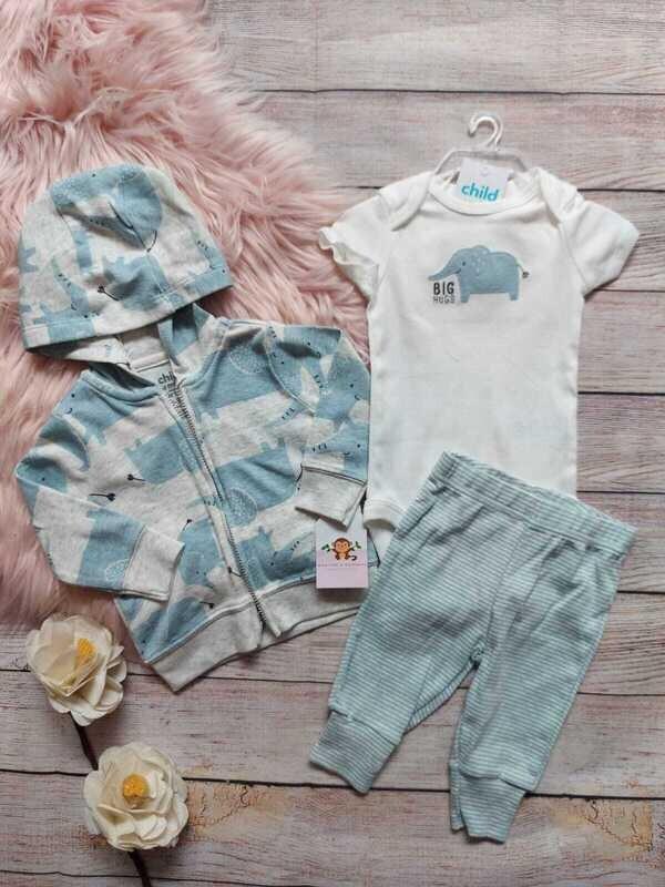 Set 3 piezas Child of Mine, Bodysuit + pantalón + chaqueta, 0 a 3m y 3 a 6m