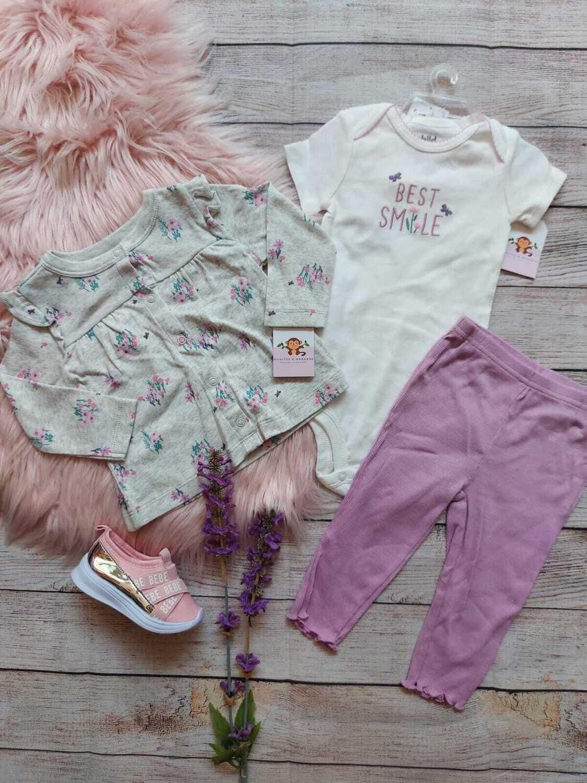Set 3 piezas Carters, cardigans gris + pantalón lila + bodysuit, 0 a 3m, 3 a 6m, 6 a 9m
