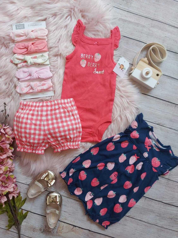 Set 3 piezas Carters, Bodysuit + romper + short rosado de cuadros,24m