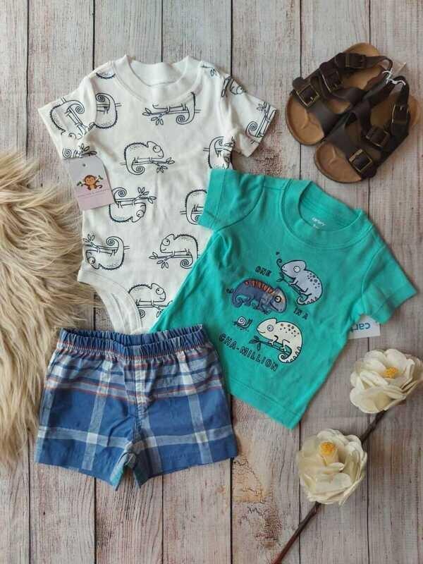 Set 3 piezas carters, bodysuit + camiseta + short, 3, 6 y 9 meses