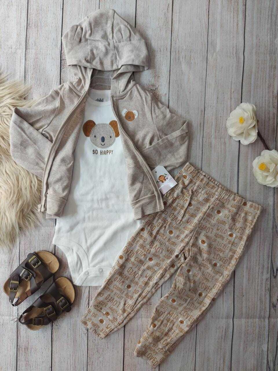 Set 3 piezas, Chaqueta beige koala + pantalón + body, 18m y 24m