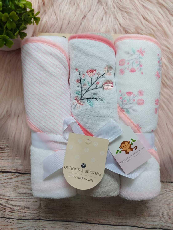 Set 3 toallas rosadas