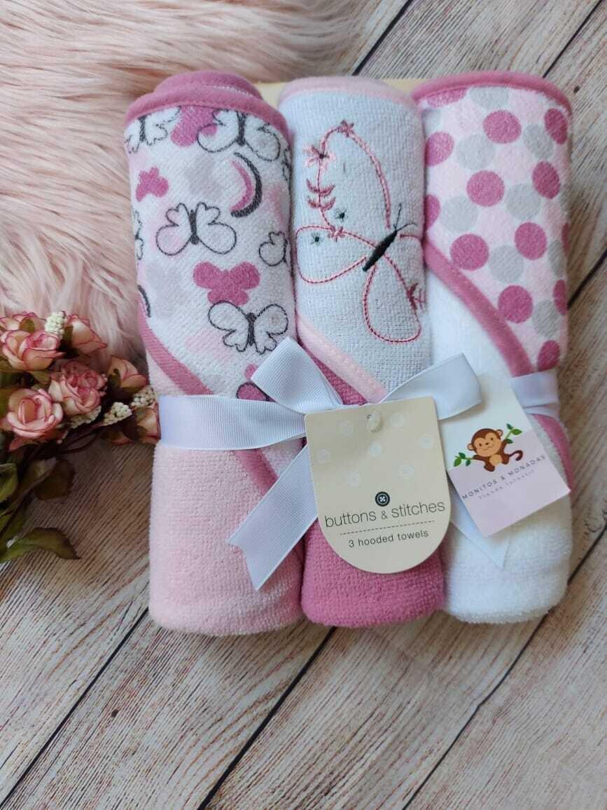 Set 3 toallas lilas y blancas, de mariposas