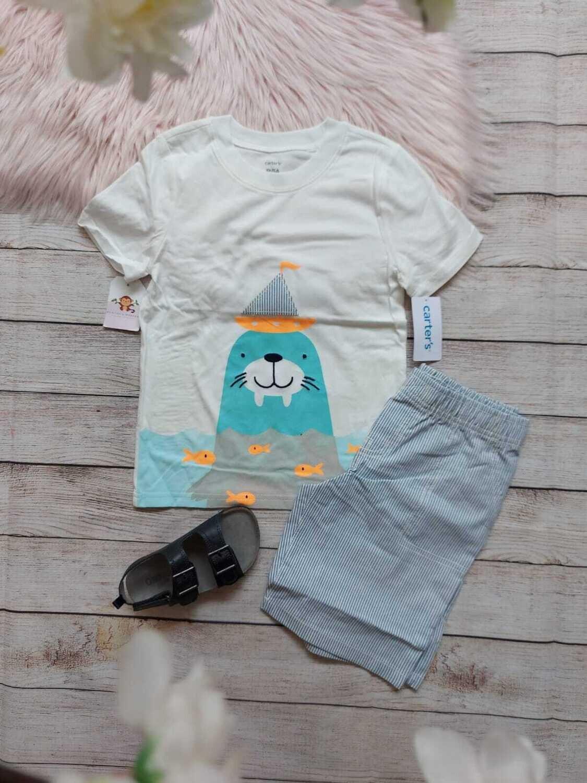 Set 2 piezas Carter's, camiseta de foca + bermuda a rayas, 5 años