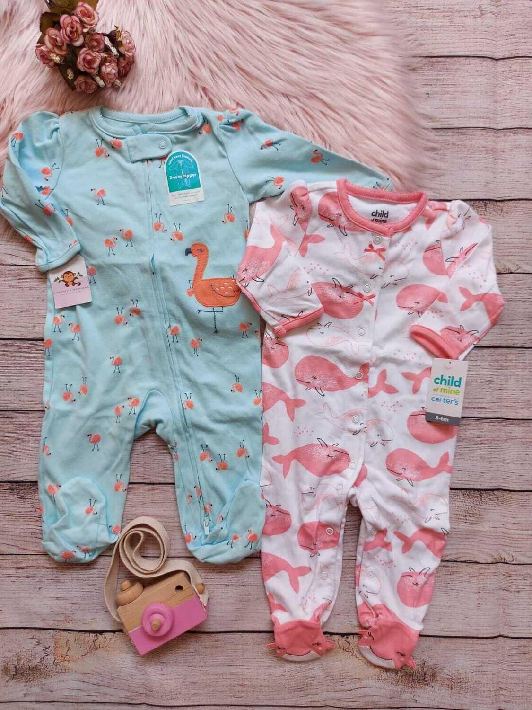 Set 2 monitos Carter's, celeste de flamingos y rosado de flamingos, 3 a 6 meses