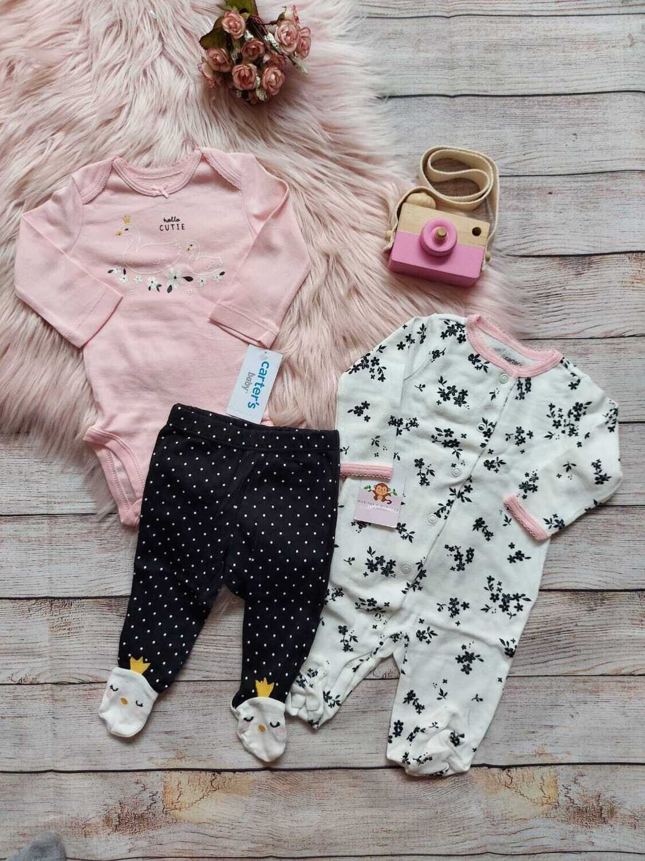 Set 3 piezas Carter's, monito blanco + bodysuit rosado + pantalón negro, Rn, 3m y 9m
