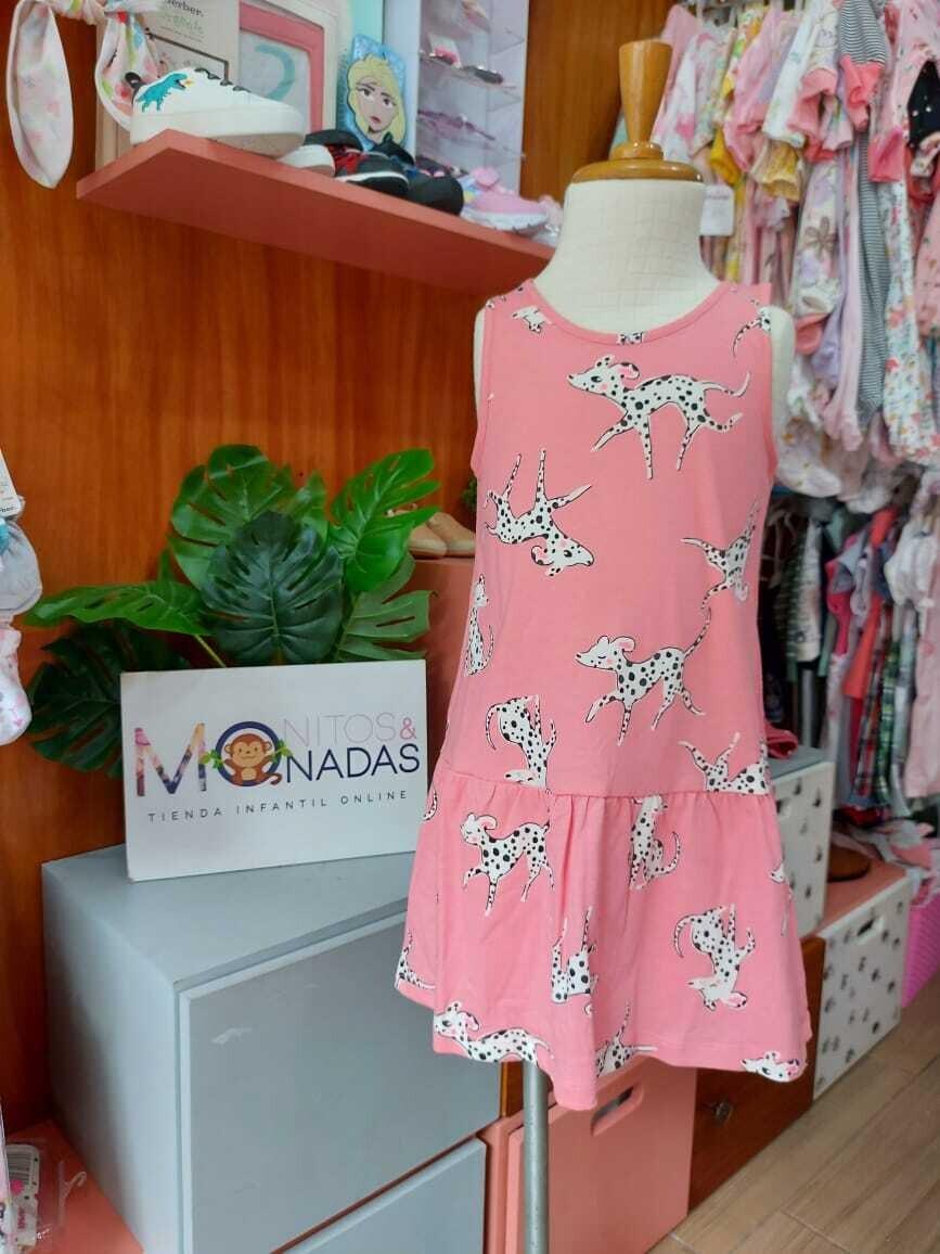 Vestido rosado H&M, dalmatas,  2 a 4 años