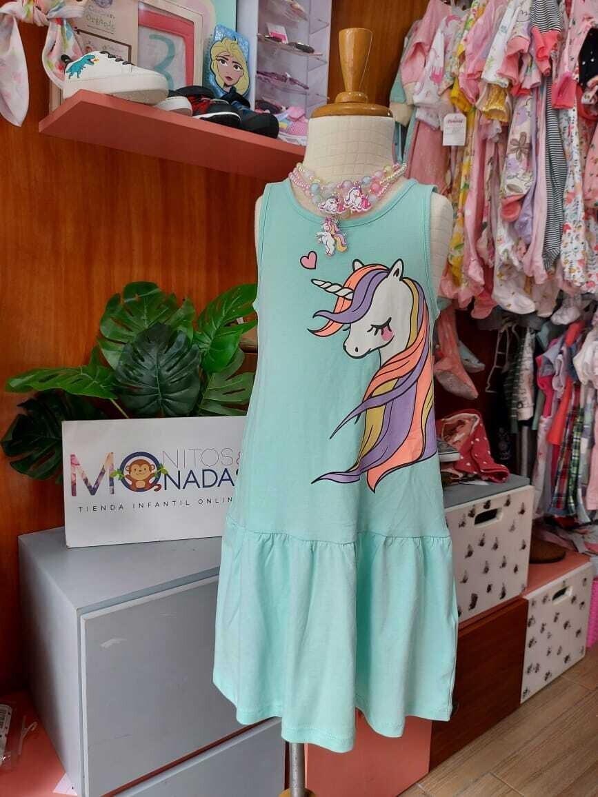Vestido H&M celeste de unicornio, 4 a 6 años y 6 a 8 años