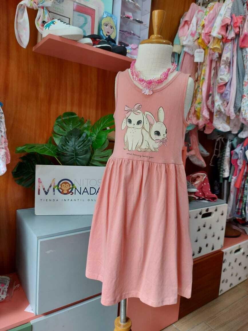 Vestido H&M rosado de conejitos, 2 a 4 años
