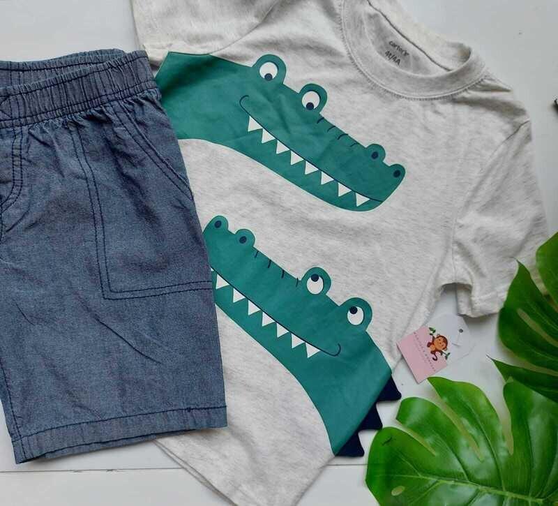 Set Carters, Camiseta gris cocodrilos + short denim, 4 años