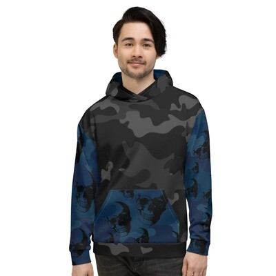 Skull Camouflage Unisex-Kapuzenpullover Blue