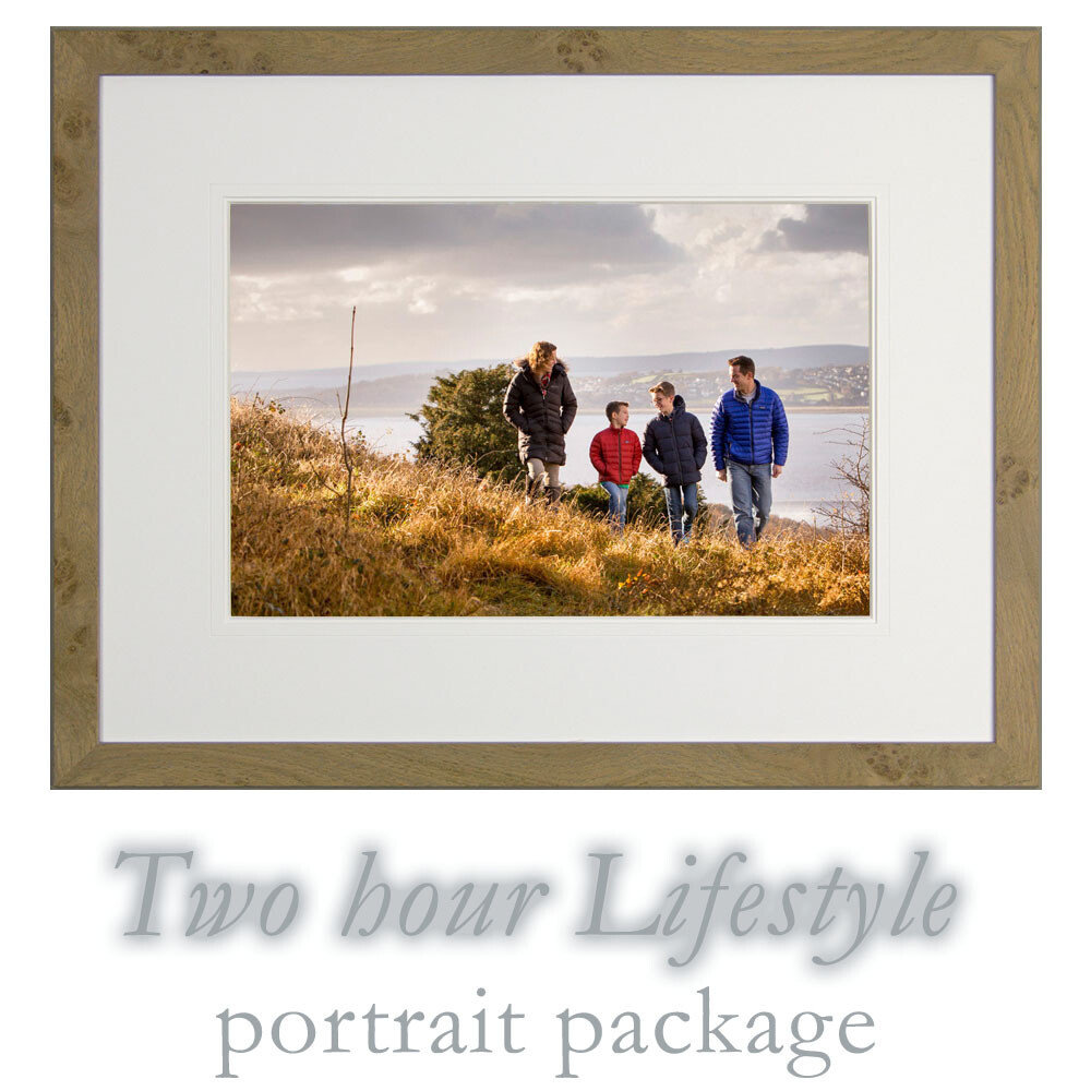 2 hour lifestyle portrait session and bespoke framed photograph