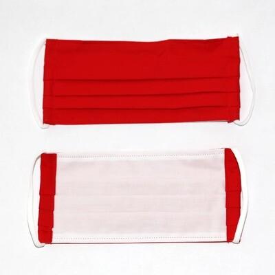 Gesichtsmaske zweilagig rot/weiss