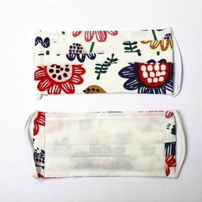 Gesichtsmaske zweilagig Blumendesign/weiss