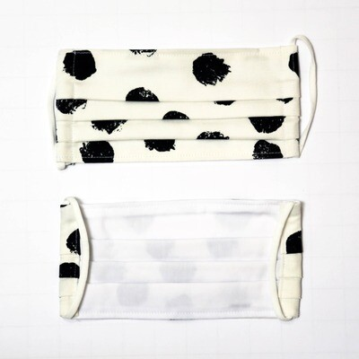 Gesichtsmaske zweilagig Punkte schwarz/weiss