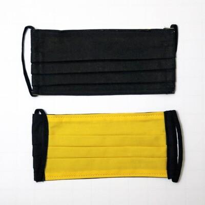 Gesichtsmaske zweilagig schwarz/gelb