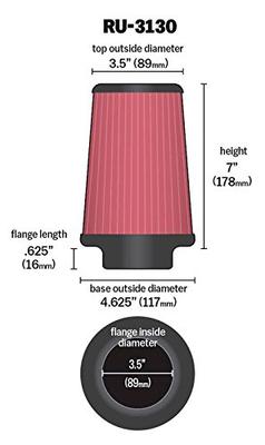 "K&N air filter (3.5"")"